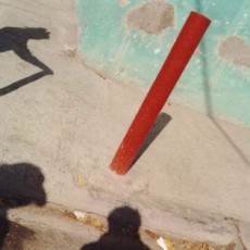 Three Shadows and Pole, From The Visitor, Walking 1000 Miles Through Mexico's Cities, 1993, Chromagenic Print, 20 x 24 inches, edition of 10.